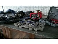 selection of power tools and tool box for sale also golf clubs