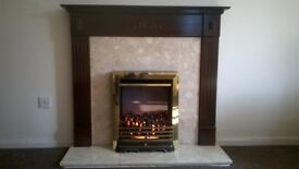 Electric Fire, marble surround and wood mantlepiece