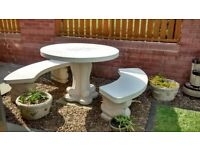 Ornate stone garden table & benches