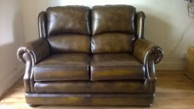 Leather Sofa, Armchair and Foot Stool