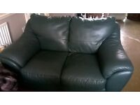 3&2 seater green leather sofas