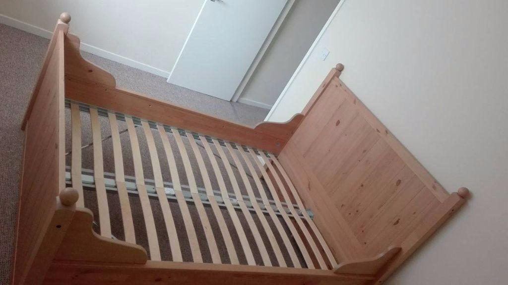 IKEA HURDAL Bed frame, light brown, Luröy Base | in Flint ...
