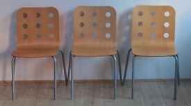 3 Wooden and metal home chairs