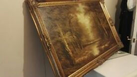 set of 3 reproduction oils in frames.
