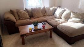 DFS Large corner sofa in brown & gold