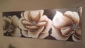 Brown flower canvas XL