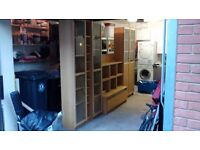 Large Ikea Oak Wall Cabinet Unit with TV Stand in good condition.