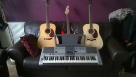 three guitars and a Yamaha keyboard lot