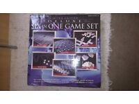 Deluxe Glass Game Set Chess Checkers Backgammon Playing Cards