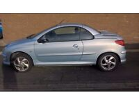 silver peugeot 206cc electric hard roof convertable good cond. new clutch fitted.