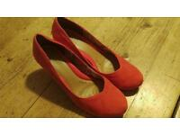 Quality Clarks with Libertys orangey red suede heels size 7