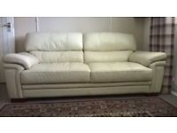 FREE EXCELLENT CONDITION CREAM LEATHER 3 SEATER SOFA