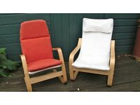 Pair Ikea child's arm chairs.