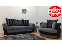 VERMONT 3 SEATER SOFA & CUDDLE CHAIR - FAST U.K DELIVERY