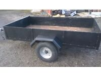 FULLY REFURBISHED CAR TRAILER 7 X 4 FT 750 KG CARRING FOLD DOWN REAR DOOR