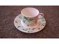 """QUEENS by SANDERSON """"Peony Tree"""" cups and saucers"""