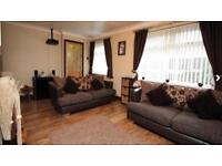 2 x DFS Zest Brown Leather & Fabric Sofas Chrome Feet 3 Seaters Good Condition Cushions Included