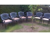 Set of 6 quality metal garden chairs and cushions