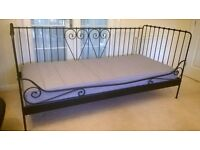 Single Day Bed(s), black metal frame with matress(es), Ikea make, exceptional condition