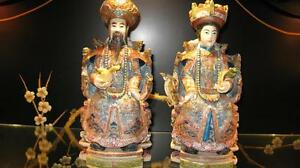 "Hand carved & painted Chinese Emperor & Queen Amazing 12"" x 5"""
