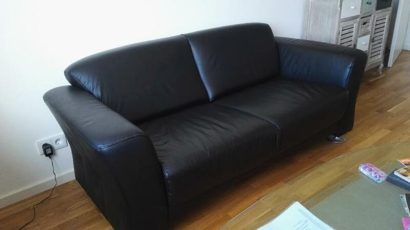 3er echt leder couch schwarz in k ln ehrenfeld ebay kleinanzeigen. Black Bedroom Furniture Sets. Home Design Ideas