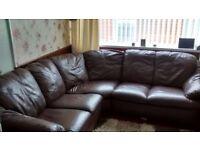 Brown Leather Corner Sofa 212 cm x 212 cm