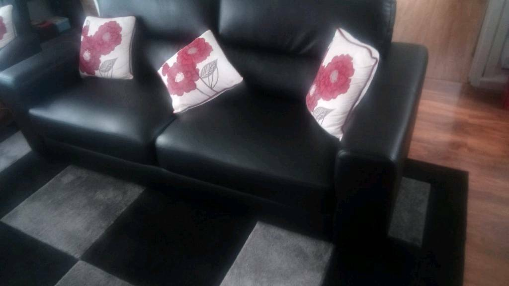 3 Seater Leather Sofa Chair And Footstool
