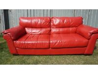 Large Red Leather Sofa
