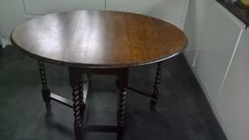 Oak gate leg table with barley twist legs