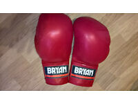 Heavy, well padded leather Bryan boxing/martial arts sparring gloves