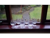 6x Gleneagles crystal brandy glasses with original lables