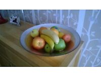 Antique style fruit dish, complete with plastic fruit