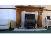 Gas Fire with Marble and Wooden Surround
