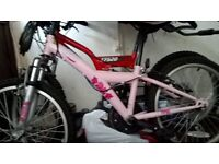 """20"""" Girls Bike + Helmet. Very Good condition Has 6 Shimano Gears. Pink With Floral detail."""