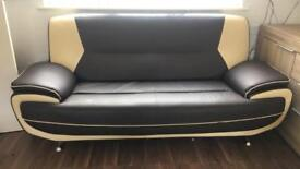 Cream and brown sofa