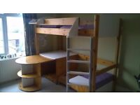 Stompa Casa high bed with desk, chair and sofa/pull out guest bed