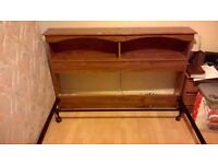 KING SIZE BED METAL FRAME WITH WOODEN HEADBOARD