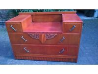 1960s/70s wooden sideboard/dressing table with decorative metal handles