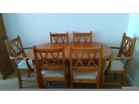 Pine dining table and 6 chairs in great condition, very solid