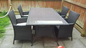 Panama rattan 6 seater garden table and chairs