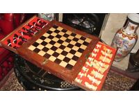 vintage chinese chest. chess set. secret drawers!