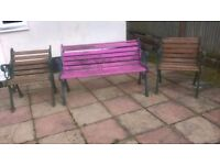 Cast iron bench and 2 chairs very heavy
