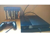 playstation 4 500gb and controller and 14 games