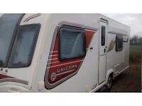 Caravan, Bailey Unicorn Valencia 2014, fixed bed, single axle,4 berth with motor mover
