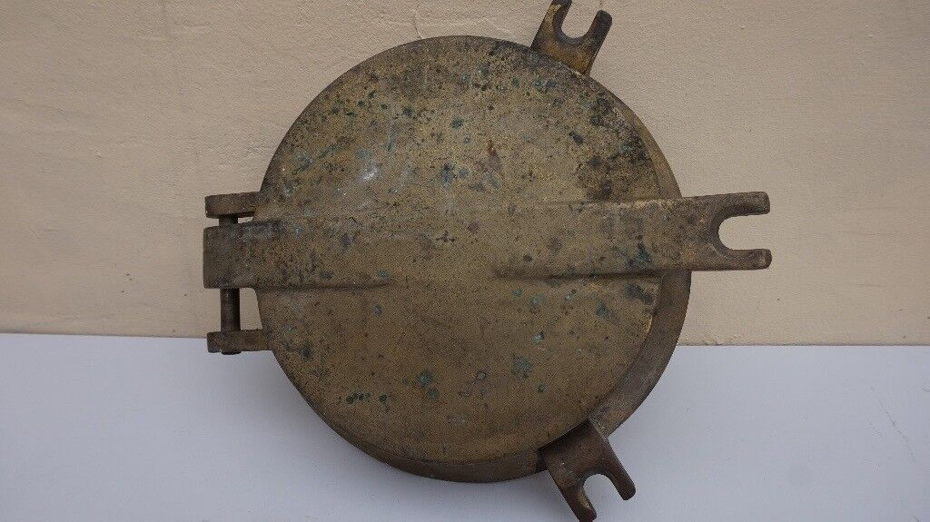 ANTIQUE SHIP NAVAL PORTHOLE SOLID BRASS WITH HINGED LID VERY HEAVY 10+KG PORT HOLE