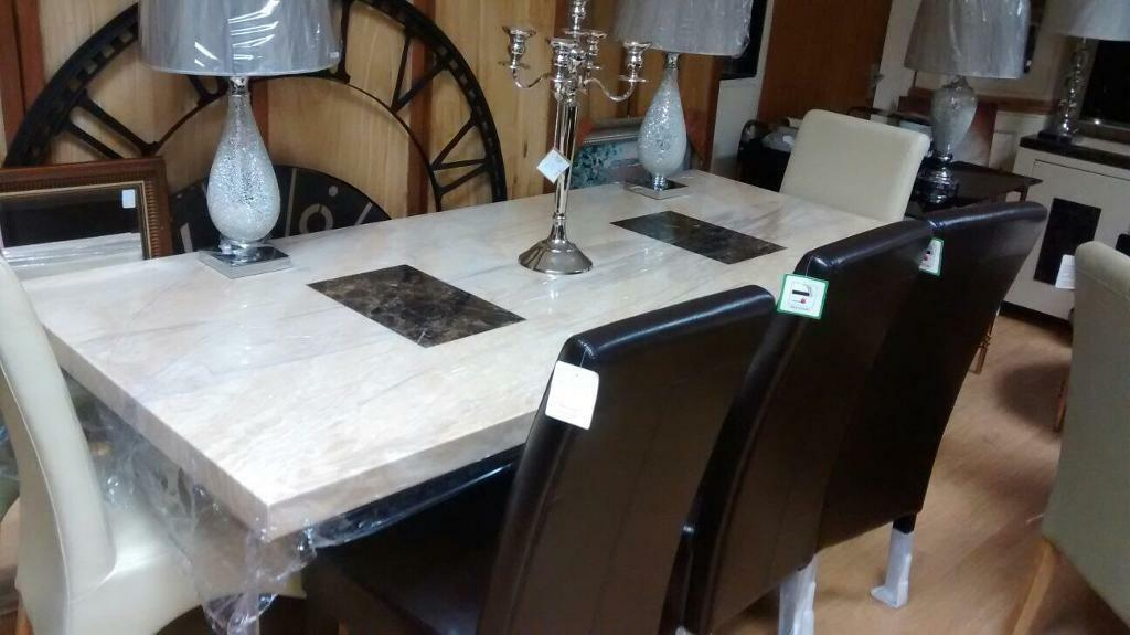 7ft Marble Dining Table With 8 Chairs
