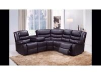 Howerd Luxury Bonded Leather Corner Recliner Sofa With 2 Cupholders!!! Free Delivery!!