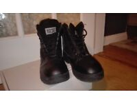 Black leather army boots size 8