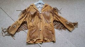 Mens cowboy jacket/tan suade+satin lined, fringes & indian logos. V heavy & warm. Worn once vgc.