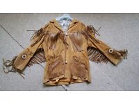 """Mens jacket 54""""chest tan suade+satin lined, fringes & indian logos. V heavy & warm. Worn once vgc."""